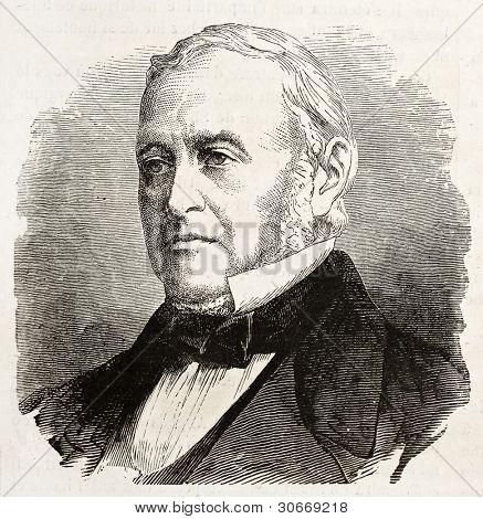 Don Iuarez de Isturiz old engraved portrait (Spanish ambassador in France). Created by Chenu, published on L'Illustration, Journal Universel, Paris, 1863