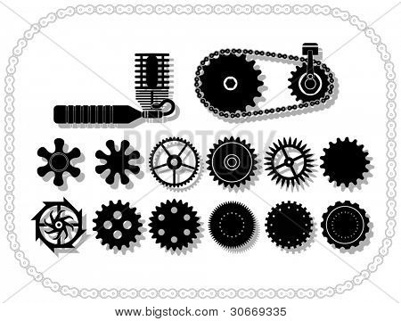 wheels and mechanisms silouhettes inside a bycicle chain frame. Shadows layered in vector size.
