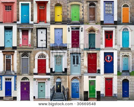 A photo collage of 32 colourful front doors to houses and homes