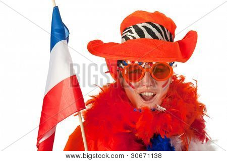 Dutch woman dressed in orange with Holland flag