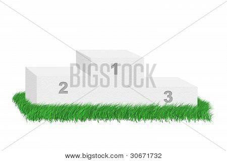 leere Podium unter Gras.