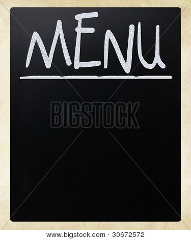 Blank Blackboard With White Chalk Smudges Used A Restaurant Menu