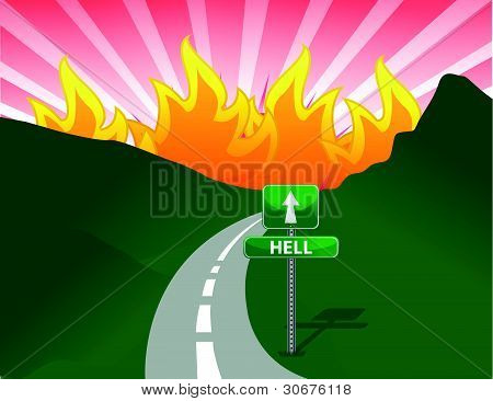 Road to hell concept illustration design