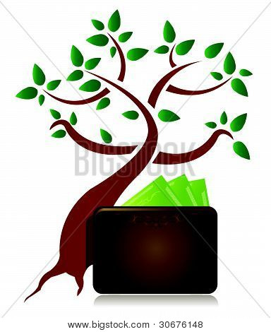 money tree and wallet illustration design on white