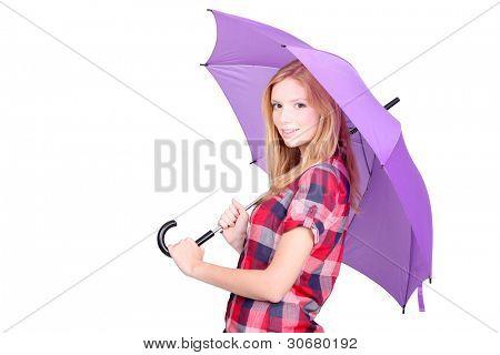 Pretty young woman under a bright purple umbrella