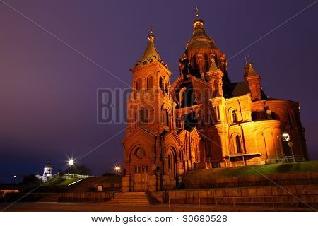 Russian Cathedral In Helsinki By Night