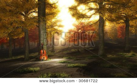 Violin in autumnal park
