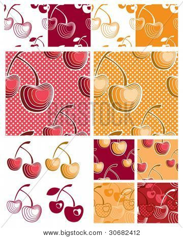 Modern Cherry Seamless Vector Patterns.  Use to create items for home cooking or craft projects.