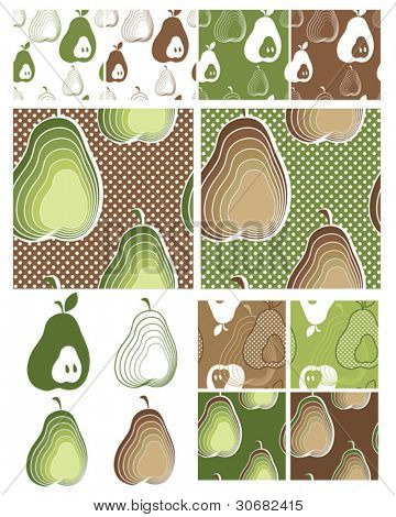 Modern Pear Seamless Vector Patterns.  Use to create items for home cooking or craft projects.