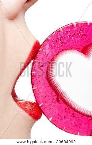 Woman Tasting Lollipop