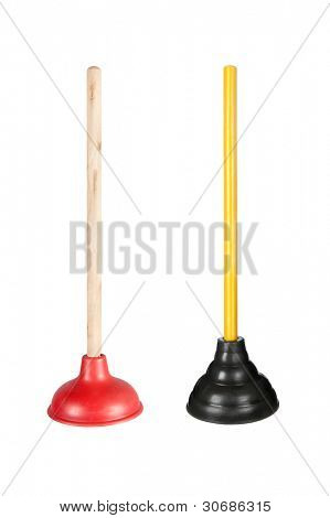 Two toilet plungers isolated on white.  These are full resolution images combined into one image (no downsizing)