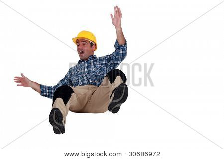 Construction worker falling
