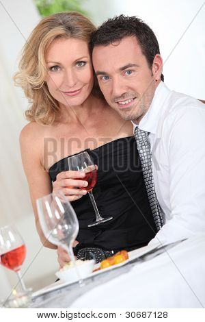 Couple with a glass of wine