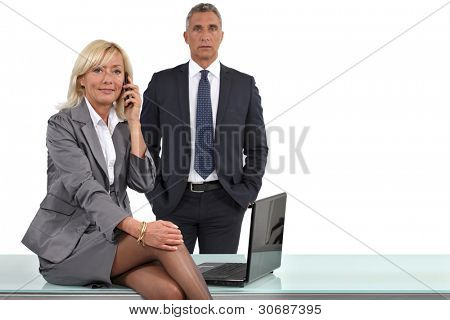 elegant business couple at the office