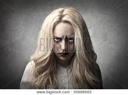 Woman with angry expression