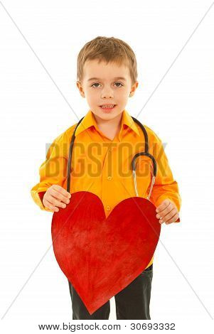 Future Doctor Boy Holding Heart
