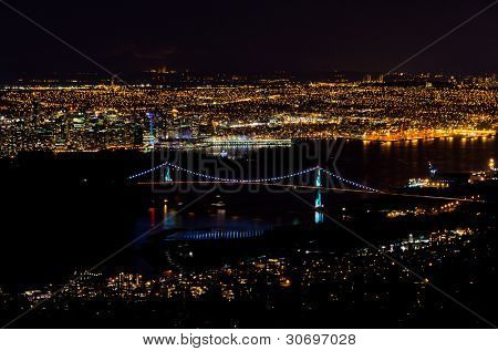 Vancouver Skyline and Lions Gate Bridge At Night