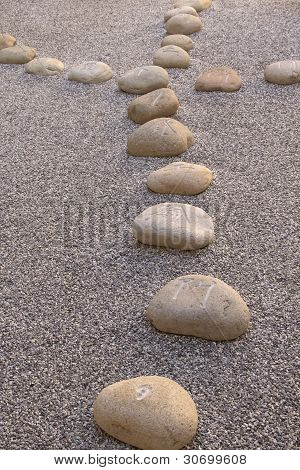 Boulders Carved With Chinese Characters Lying In The Gravel