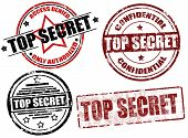picture of top-secret  - Set of grunge rubber stamps with the text top secret written inside vector illustration - JPG