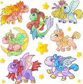 Cartoon Cute Little Pony Set Of Funny Images poster