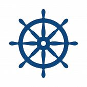 Nautical Helm. Ship And Boat Steering Wheel Sign. Boat Wheel Control Icon. Rudder Label. poster