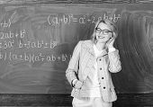 School. Home Schooling. Happy Woman. Teacher On School Lesson At Blackboard. Study And Education. Mo poster