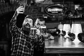 Send Selfie To Friends Social Networks. Man In Bar Drinking Beer. Online Communication. Man Bearded  poster