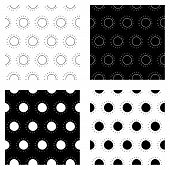 Cute Abstract Sun Pattern Set With Hand Drawn Sun. Funny Vector Black And White Abstract Sun Pattern poster