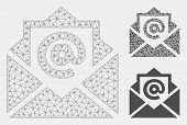 Mesh Email Model With Triangle Mosaic Icon. Wire Carcass Polygonal Mesh Of Email. Vector Collage Of  poster