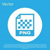 Blue Png File Document Icon. Download Png Button Icon Isolated On Blue Background. Png File Symbol.  poster