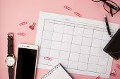 Shattered Pink Stationery, White Smartphone, Glasses, Pen, Wallet, Watch Calendar Notebook Pink Back poster