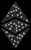 Bright Mesh Ethereum Classic With Glare Effect. Abstract Illuminated Model Of Ethereum Classic Icon. poster