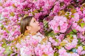 Sniffing Flowers. Get Rid Of Seasonal Allergy. Girl Enjoying Floral Aroma. Pollen Allergy Concept. K poster