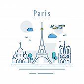 Paris City Of France. Line Art Of Famous Buildings. Modern Cityscape Landmarks Banner Showplace Comp poster