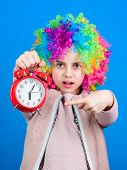 Girl Worry About Time. Time To Have Fun. Discipline And Time Concept. Circus Performance Timing. Kid poster