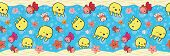 Cute Border With Yellow Jellyfish And Orange Starfish Playing With Bubbles. Seamless Vector Pattern  poster