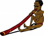 picture of didgeridoo  - Cartoon  aborigine man illustration sitting playing didgeridoo - JPG
