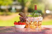 Picnic. Bottle Of Wine With Glasses. Strawberry.romance.banner poster