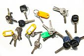Set Of Many Different Keys Isolated On White Background, Keys With Blank Name Tags, Space For Text.  poster