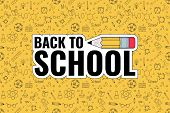 Back To School. Back To School Logo On Doodles Background. Vector Illustration poster