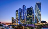 Panorama Of Moskva River With Moscow-city Skyscrapers At Night, Russia. Moscow-city Is A Business Di poster