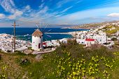 Mykonos City, Chora, With White Windmill And Old Port On The Island Mykonos, The Island Of The Winds poster