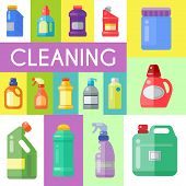 Cleaning Products Poster Household Bottle Plastic Liquid Detergent Product Vector Illustration. Clea poster