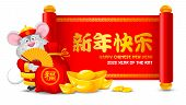 Chinese New Year 2020. Cheerful Rat As Symbol Of New 2020 Year With Red Money Bag, Gold Coins, Ingot poster
