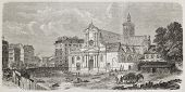 Saint-Laurent church facade before 1861 refurbishment, Paris. Created by Fichot and Dumont after Mon