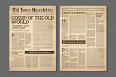 Vintage Newspaper. News Articles Newsprint Magazine Old Design. Brochure Newspaper Pages With Headli poster
