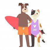 Surf Vector Cat Dog Animal Surfer Character Surfing On Surfboard Illustration Animalistic Set Of Car poster