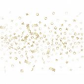 Memphis Style Gold Geometric Confetti Vector Background With Triangle, Circle, Square Shapes, Chevro poster