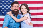 Patriotismt Begins At Home. Patriotic Family Showing Patriotism On American Flag Decor. American Pat poster