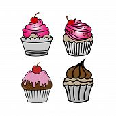 Cup Cakes Set Vector. Chocolate Cake Slice, Delicious Sliced Birthday Pie And Tasty Pink Glaze Cake  poster